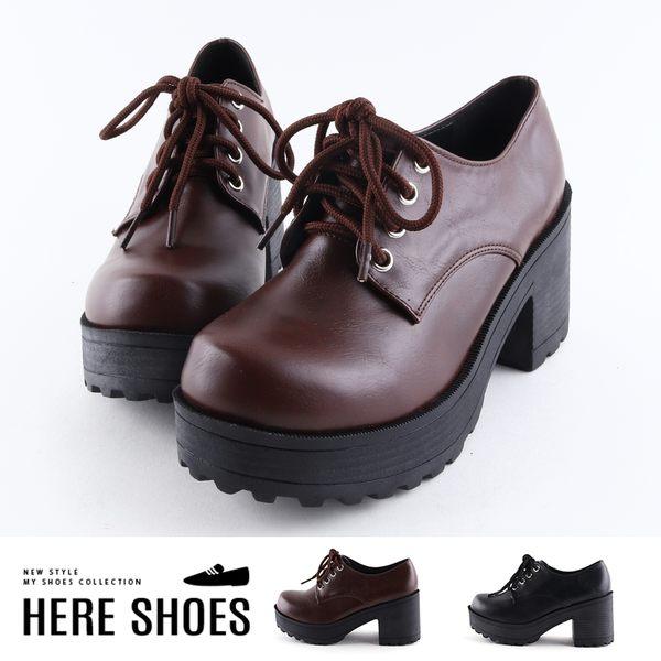 [Here Shoes]靴子-MIT台灣製 皮質面料 跟高8cm厚底 綁帶純色短靴 踝靴-KD6126A
