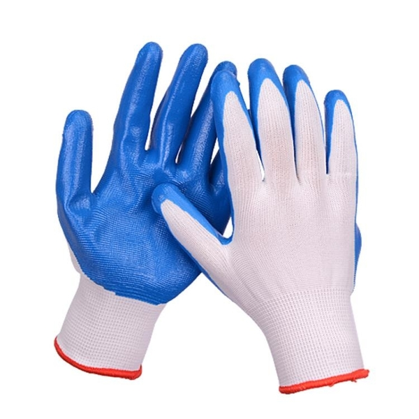 手套 丁晴勞保防護手套浸膠耐磨防滑水橡膠尼龍工作干活工地棉線紗手套 解憂