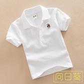 兒童白色T恤男童夏裝女童紅色打底衫純棉翻領上衣寶寶短袖班服