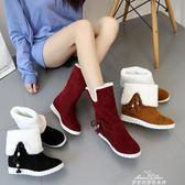 雪地靴女冬季韓版中筒靴子加絨保暖兩穿棉靴平底防滑短靴 『夢娜麗莎精品館』