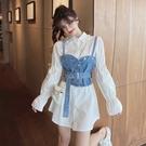 洋裝 設計感炸街時尚套裝春季泡泡袖中長白襯衫裙牛仔吊帶背心兩件套女