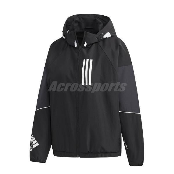 adidas 外套 W.N.D. Jacket 黑 白 女款 張鈞甯款 風衣 訓練 運動休閒 【ACS】 GF0142