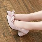 33-41中跟尖頭單鞋女粗跟工作鞋淺口大碼伴娘女鞋蝴蝶結百搭瓢鞋 快速出貨