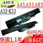 ASUS A32-K53 電池-華碩  X43,X43BY,X53,X44,X54,X84,X43E,X43JE,P43,X43SJ,P53,X5P,PRO4J,A42-K53