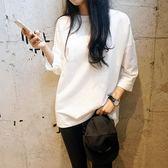 韓版百搭寬鬆純白色長袖T恤女