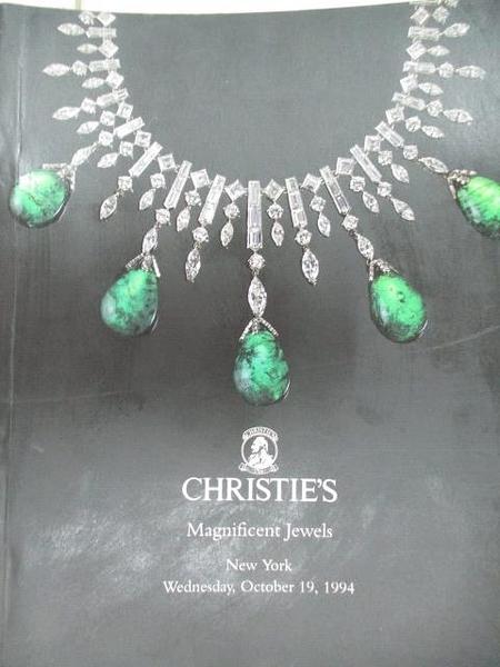 【書寶二手書T2/收藏_DN8】Christie s_Magnificent Jewels_1994/10/19