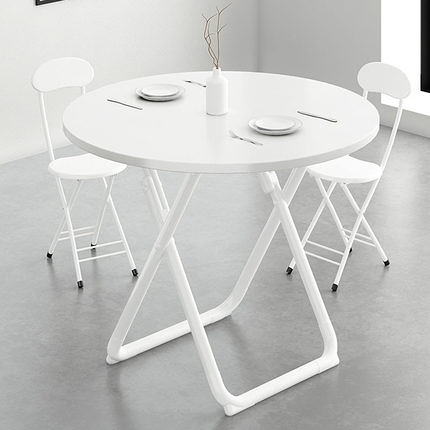 可摺疊圓桌餐桌家用小戶型現代簡約休閒圓形桌子洽談桌椅組合飯桌 夢幻小鎮
