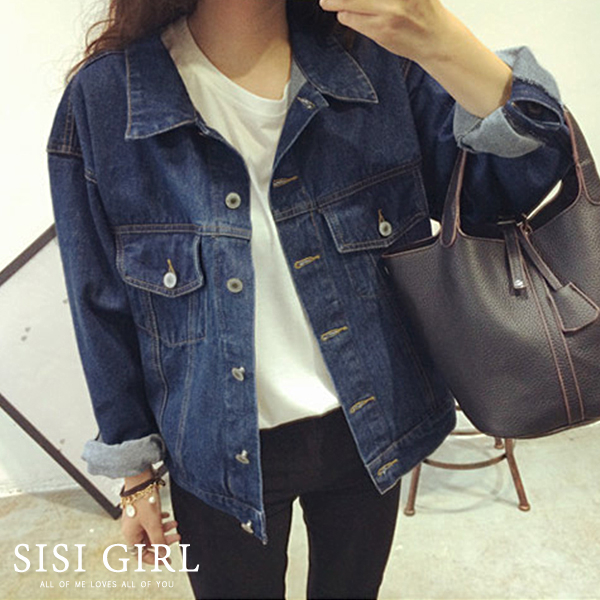 SISI【C9026】韓國東大門新款韓版復古簡約隨興百搭BF牛仔丹寧外套上衣女