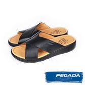 【PEGADA】巴西名品真皮休閒拖鞋  黑色(132503-BL)
