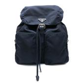 【台中米蘭站】全新品 PRADA 三角Logo雙口袋尼龍後背包(1BZ005-藍)