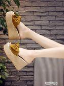 一字拖女夏時尚性感蝴蝶結韓版鬆糕坡跟外穿防滑厚底超高跟涼拖鞋  凱斯盾數位3C