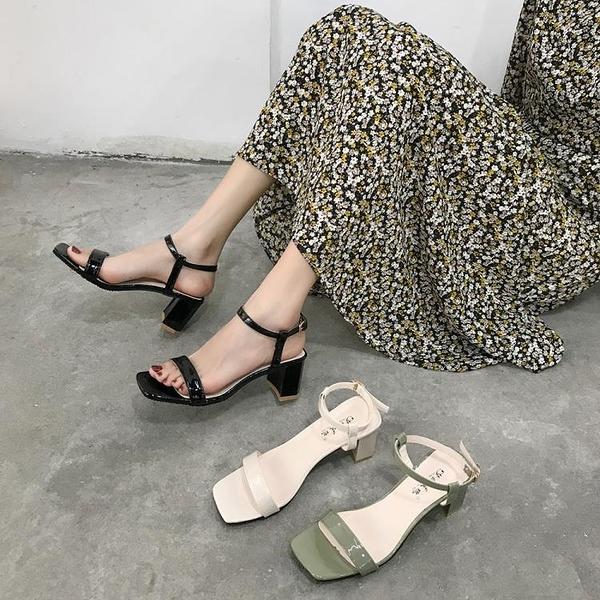 粗跟涼鞋女夏季新款百搭ins潮配裙子的鞋仙女風一字跟高跟鞋