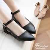包鞋.浪漫情懷側縷空繞踝尖頭包鞋-FM時尚美鞋-訂製款.firefly