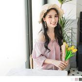 《AB6066-》領口鬆緊綁帶花朵刺繡五分袖上衣 OB嚴選