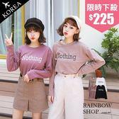 正韓-Nothing字母長袖T恤-M-Rainbow【A782551】