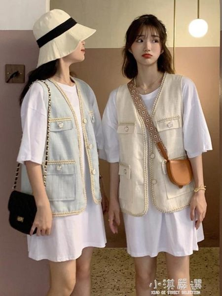 編織馬甲夏天外穿女潮薄款坎肩多口袋上衣寬鬆無袖背心外套『小淇嚴選』