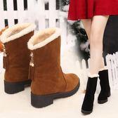 韓版平底坡跟短靴絨面學生單靴內增高中筒流蘇靴 黛尼時尚精品