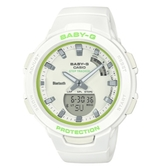 Baby-G CASIO卡西歐 藍牙連線 智慧錶 雙顯錶 運動錶 電子錶 女錶 白色 BSA-B100SC-7A