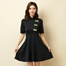 [9950-JK]改良式立領旗袍大裙襬表...