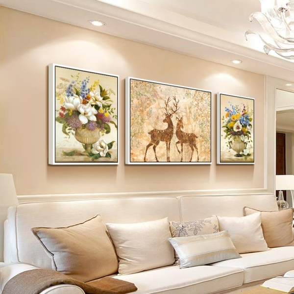 北歐客廳裝飾畫沙發背景牆畫客廳壁畫三聯沙發後面的掛畫 大氣MBS「時尚彩紅屋」