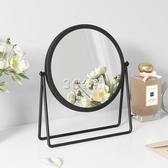 小鏡子網紅ins風化妝鏡桌面臺式鏡家用臥室復古黑金色圓形梳妝鏡