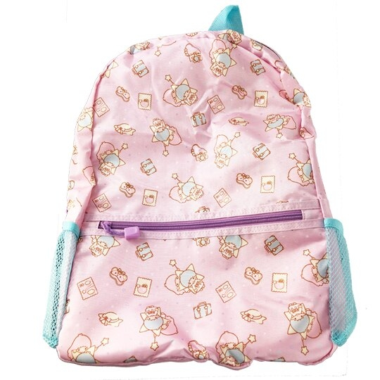 小禮堂 雙子星 折疊尼龍後背包 旅行背包 盥洗包 手提化妝包 (紫 行李箱) 4901610-05291