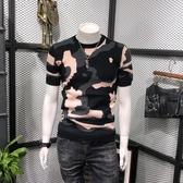 秋冬新款迷彩短袖毛衣男士打底衫韓版潮流修身圓領針織衫 琉璃美衣