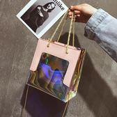 包包女時尚簡約鐳射子母包流單肩斜背手提包側背包  蒂小屋服飾