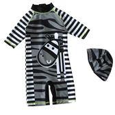 兒童泳衣男童寶寶嬰兒小斑馬條紋防曬度假沖浪服潮泳褲  小時光生活館