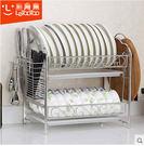 304不鏽鋼碗架瀝水碗碟架 廚房置物架收納晾放碗盤架雙層