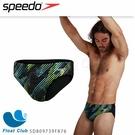 【SPEEDO】男競技三角泳褲 Allover 黑光電花紋 SD809739F876 原價1580元