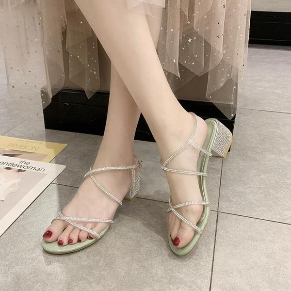 亮鑽高跟涼鞋女夏季新款韓版一字式扣帶仙女風搭配裙子女鞋子 CY潮流