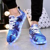 情侶LED充電夜光鞋成人街舞男孩七彩閃燈鞋熒光女生鬼步鞋