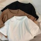 兒童竹節棉上衣 兒童短袖T恤夏款韓國童裝洋氣純色基礎款上衣男女童竹節棉T恤-Ballet朵朵