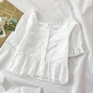 方領上衣 洋氣時尚氣質雪紡衫潮流女裝夏季新款短款高腰方領短袖上衣-Ballet朵朵
