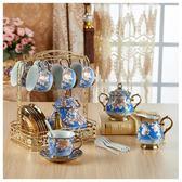 歐式陶瓷咖啡杯套裝紅茶杯馬克杯水杯6件套茶具杯碟勺茶壺送架子ZMD 交換禮物