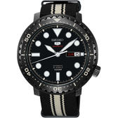 SEIKO 精工5號系列 復刻運動機械錶-黑x帆布帶/44mm 4R36-06N0X(SRPC67J1)