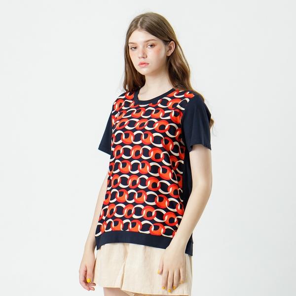 【中大尺碼】MIT時尚圈圈花紋後棉T