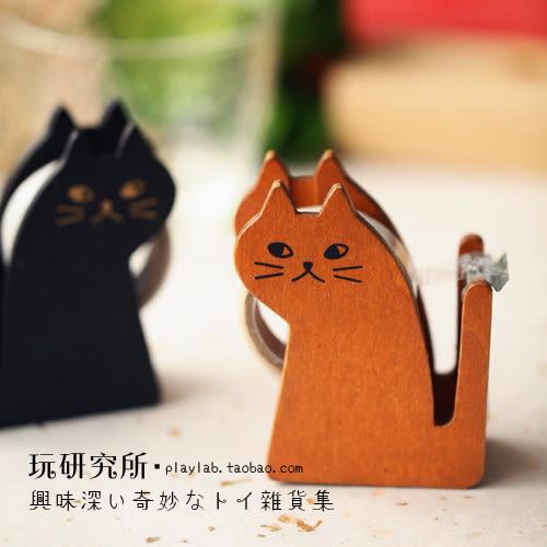 韓版 超可愛貓咪木質膠帶台 和紙膠帶座辦公小物切割器日韓雜貨ZAKKA手作木頭 【RS500】
