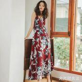 彌古波西米亞長裙露背吊帶裙子漏肩夏女紅色沙灘裙泰國風情吊帶洋裝 ZJ1608 【大尺碼女王】