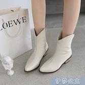 中筒靴女 中筒靴女騎士靴秋季新款百搭中跟瘦瘦靴復古粗跟尖頭高筒靴子
