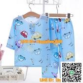 棉綢女童睡衣夏季男童寶寶綿綢兒童空調家居服套裝女長袖夏天超薄【happybee】