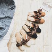 女新款穆勒鞋 粗跟夏季時尚平底外穿休閒 LR3099【野之旅】