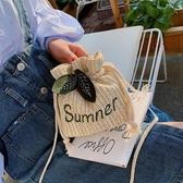 夏季包包女包新款斜挎包小包百搭ins單肩包草編織迷你水桶包