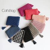 鑰匙包-韓國質感手工真編織大容量可插信用卡流蘇零錢包/短夾-Catsbag-A430503/298