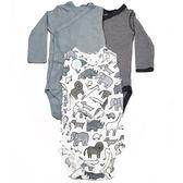 Carter s 長袖包屁衣 側扣三件組 純棉藍大象 男寶寶【CA126G986】