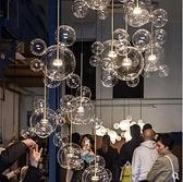 現代簡約吊燈 創意個性客廳臥室肥皂泡泡吊燈分子吊燈北歐餐廳玻璃球吊燈 DF 風馳 免運