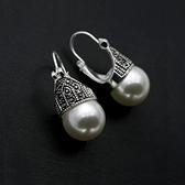 耳環 925純銀珍珠-復古有型生日情人節禮物女耳針73gt48【時尚巴黎】