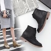 粗跟短靴-歐美復古雕花繫帶女馬丁靴2色73is33[時尚巴黎]