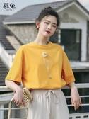 chic純棉短袖t恤女夏季2020新款韓版ins超火體恤潮寬鬆少女感上衣